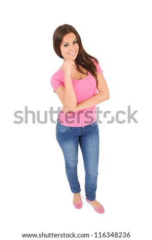 Isolated young casual woman thinking - stock photo
