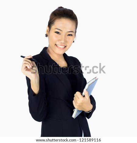 Isolated Young Cheerful Business woman on white