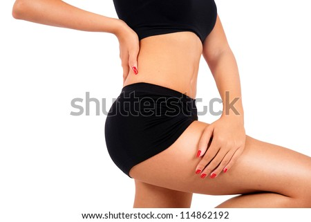 Isolated young fitness woman body