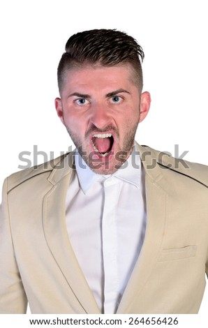 isolated young furious man screaming  - stock photo