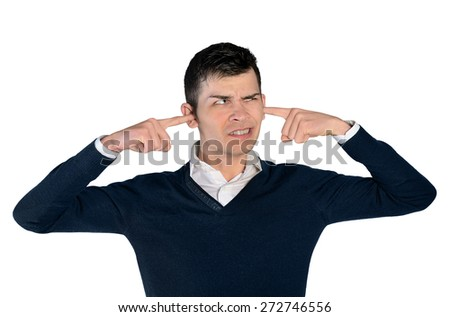 Isolated young man cover ears - stock photo