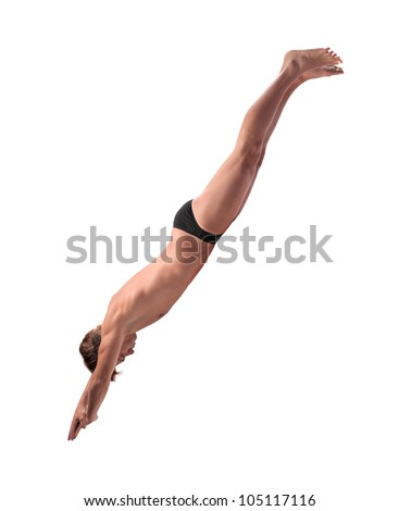 Isolated young man diving - stock photo