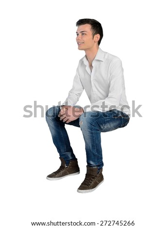 Isolated young man looking side - stock photo