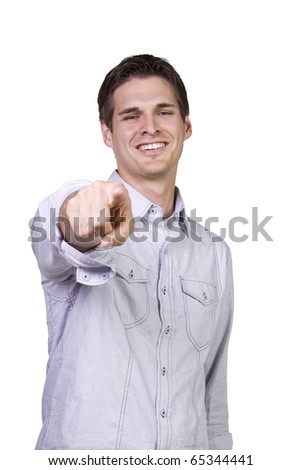 Isolated Young man smiling and  pointing finger - stock photo