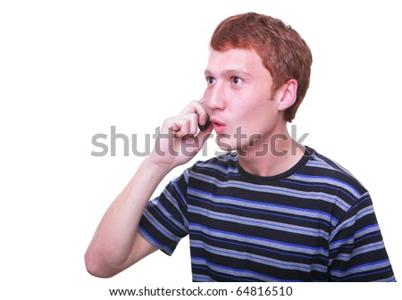 isolated young man talking on the phone surprised and emotional