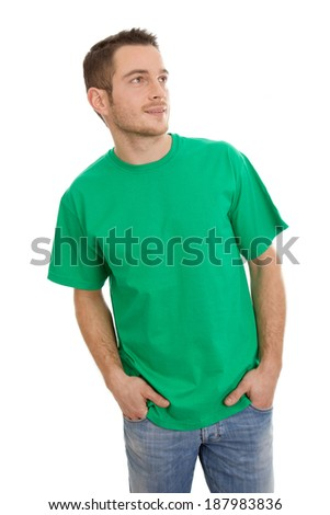 Isolated young smart man in green looking sideways on White. - stock photo