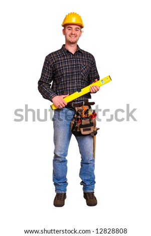 Isolated young worker with tools 10