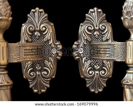 Isolates of the door handle antique brass filigree Thailand. - stock photo
