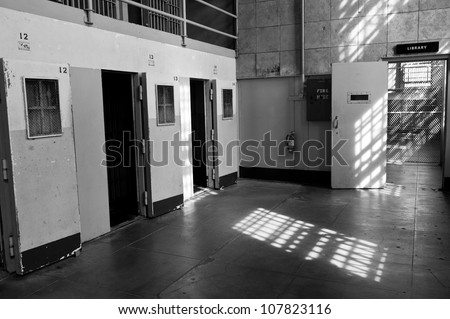Isolation cells, Cell block D, Alcatraz Penitentiary - stock photo