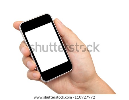 Isolation man hand holding the phone tablet touch computer gadget - stock photo