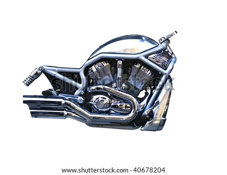 Isolation of a motorcycle engine - stock photo