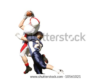 Isolation of a spectacular catch in American football game. - stock photo