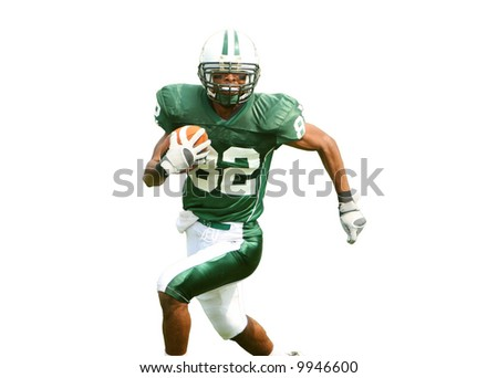 Isolation of American Football player running for touchdown in game. Clipping Path included.