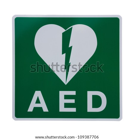 Isolation of an AED Sticker to indicate that there is a Defibrillator located in the building or to indicate the exact location - stock photo