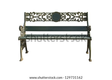 Isolation steel bench. - stock photo