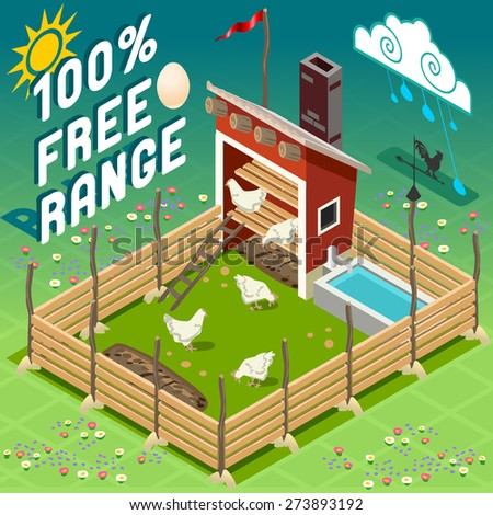 Isometric American Old Barn Wood - Hen house with Chicken - Free Range Farming - stock photo