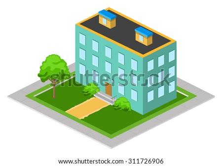 Isometric big city house on the green lawn with trees