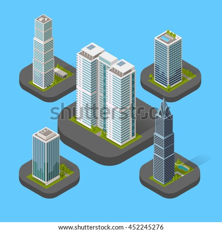 Isometric building set isolated design flat style. 3d modern house building with helipad or business offices isolated on a blue background. Templates for building web design.  illustration