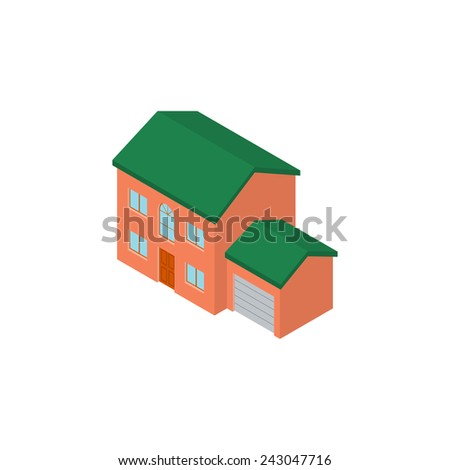 Isometric building with garage - stock photo