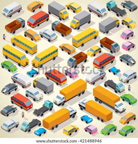 Isometric Cars. Various Automobiles, Trucks, Buses, Vans on Parking. Heavy Traffic - stock photo