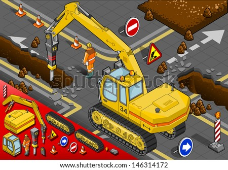 Isometric Chisel Excavator in Rear View with Man at Work - stock photo