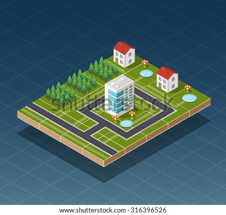 Isometric city map road, trees and building home elements  illustration.