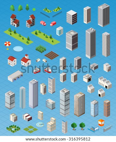Isometric city map road, trees and building home elements set isolated illustration.