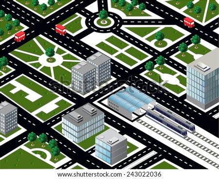 Isometric city model with transport - stock photo