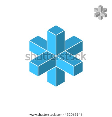 Isometric cross figure, 3d raster icon on white background - stock photo