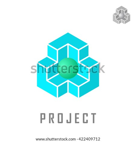 Isometric cube construction with ball inside, 3d illustration, structure concept, isolated on white background - stock photo