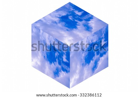 Isometric cube illustration of a blue sky with clouds - stock photo