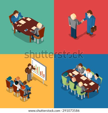 Isometric 3D business people icons. Meeting and job interview, deal handshake and presentation, teamwork and brainstorm, collaboration and coworker, conference office - stock photo