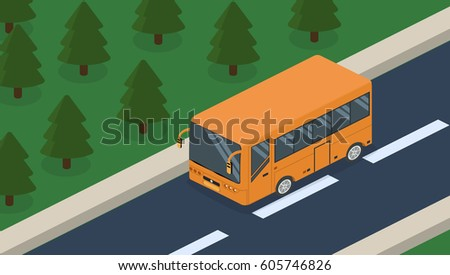 Isometric 3D concept vehicles on the road, transportation of passengers in the bus. Standing on the site of transport.