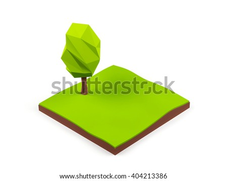 Isometric 3d landscape with tree - stock photo