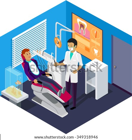 Isometric dentist office during reception patient. Dentistry and doctors office, dentist and patient, dentist chair, dental and medical, health oral, mouth healthcare illustration. Raster version - stock photo