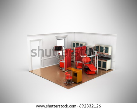 Isometric dentist office red 3d rendering on gray background
