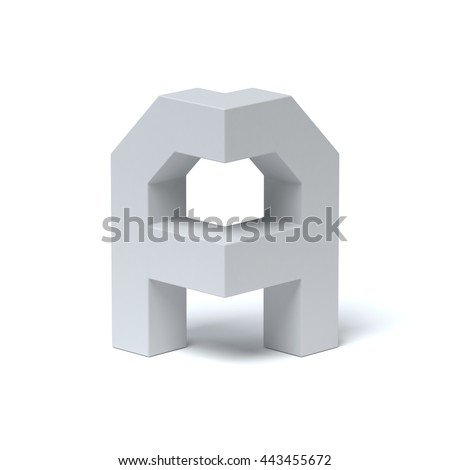 Isometric font letter A 3d rendering - stock photo