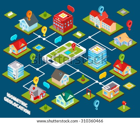 Isometric geolocation concept with 3d buildings connected with mobile phone  illustration