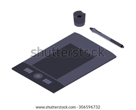 Isometric graphic tablet. Illustration suitable for advertising and promotion - stock photo