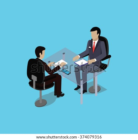 Isometric hiring recruiting interview. Look resume applicant employer. Hands Hold CV profile. Isometric 3d HR, recruiting, we are hiring. Candidate job position. Hire and interviewer. Business meeting - stock photo