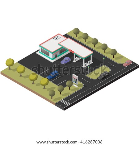 Isometric icon set representing small gas station with detailed cars