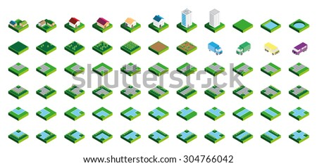 Isometric Kit of Buildings Blocks Trees and Houses - Grass Edition - stock photo