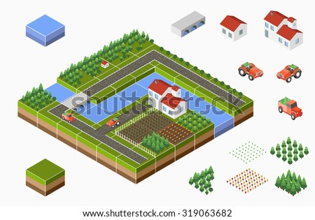 Isometric landscape of countryside with farm, tractor, harvest, the beds and the river. - stock photo