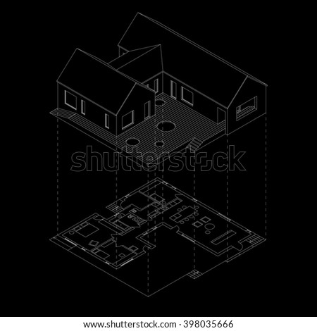 Isometric line house with plan projection on black background. Raster version.3D - stock photo
