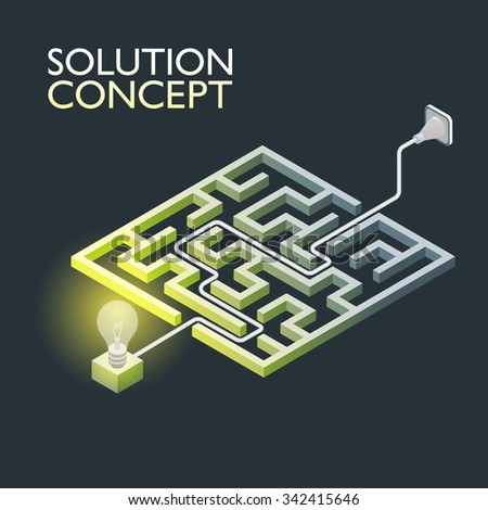 Isometric maze with electric light, labyrinth solution concept. Modern infographic template. Isometric illustration. - stock photo