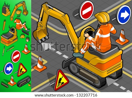 isometric mini excavator with man at work - stock photo