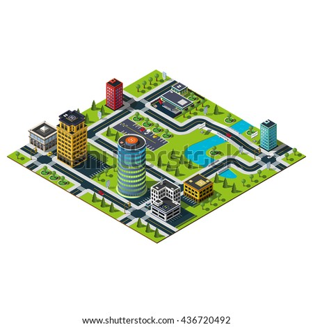 Isometric office building, mall building and police department illustration. Bridges and river.