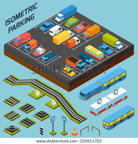 Isometric parking with 3d cars trucks and and buses elements isolated  illustration