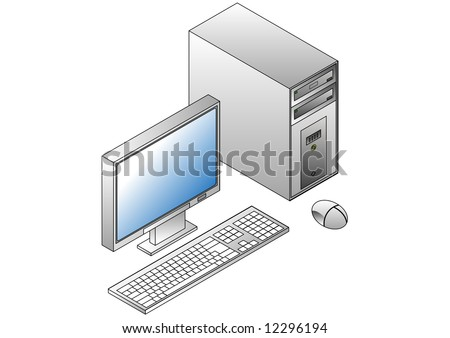 Isometric PC, monitor, Keyboard and mouse