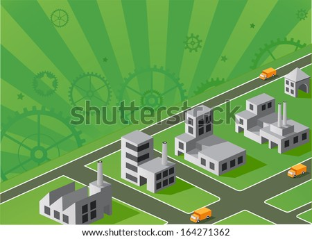isometric portion of the landscape with factories - stock photo